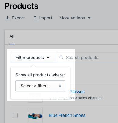 SHOPIFY Product filter
