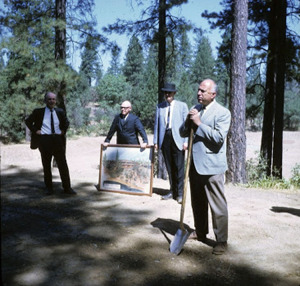 Rhodes and colleagues, including Don Brady, Tuolumne County's member of the college board, break ground for the new campus in 1967