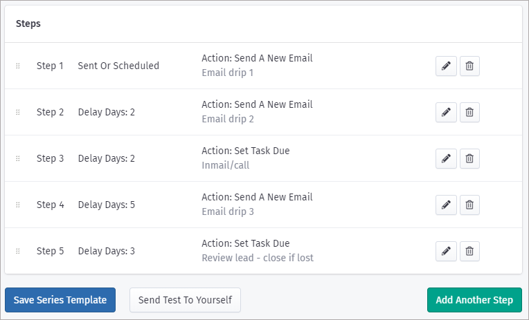 Screenshot of VipeCloud, showing how easy it is to create workflow automation for email and tasks for your outbound lead generation campaigns.