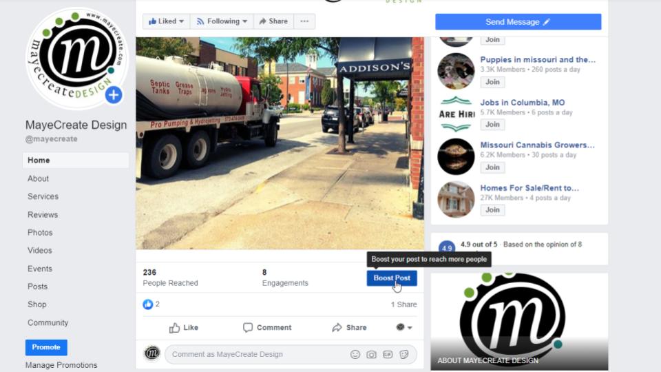 Boosting posts on Facebook