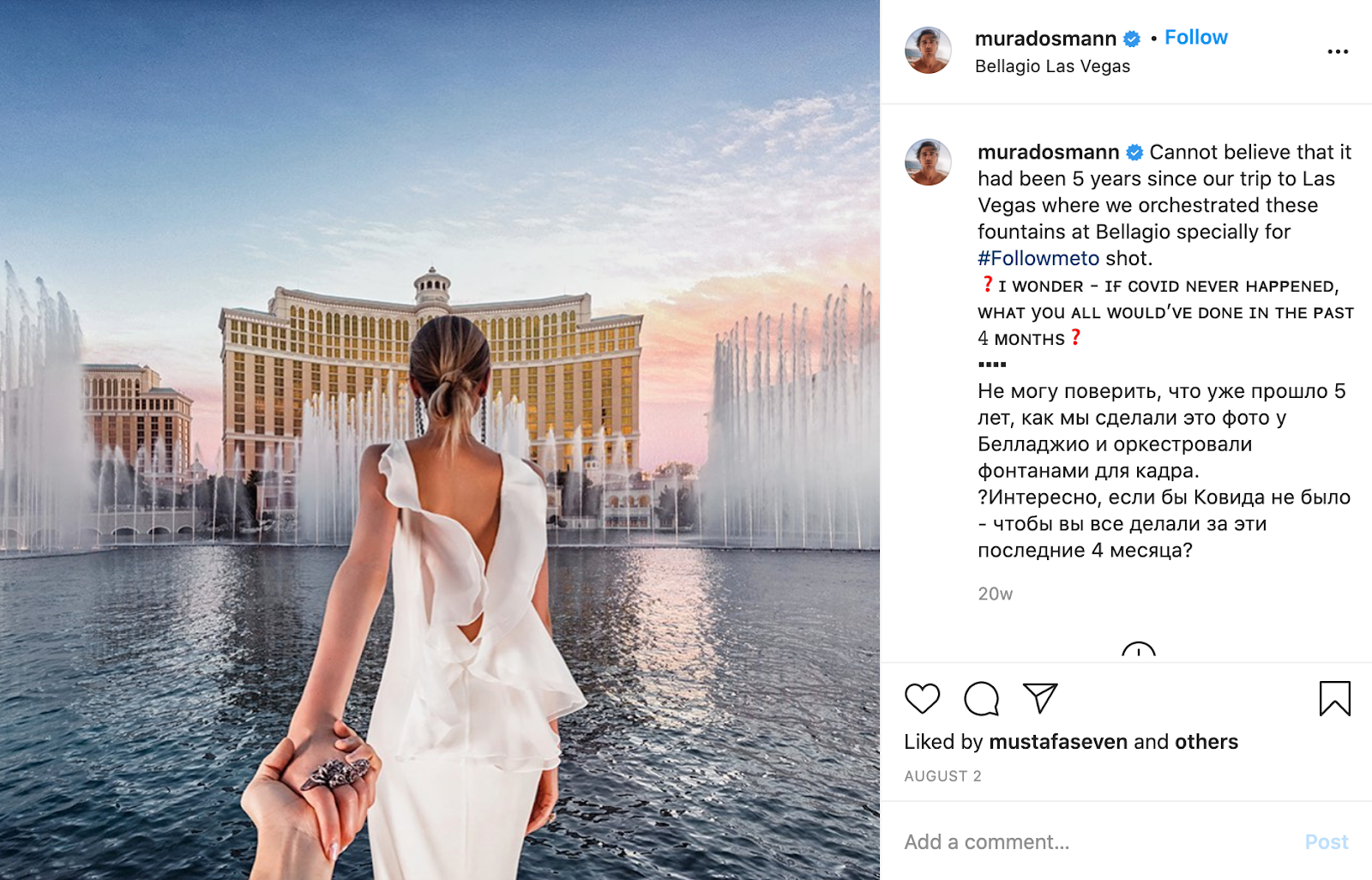Screenshot of an Instagram post as a throwback travel photo.