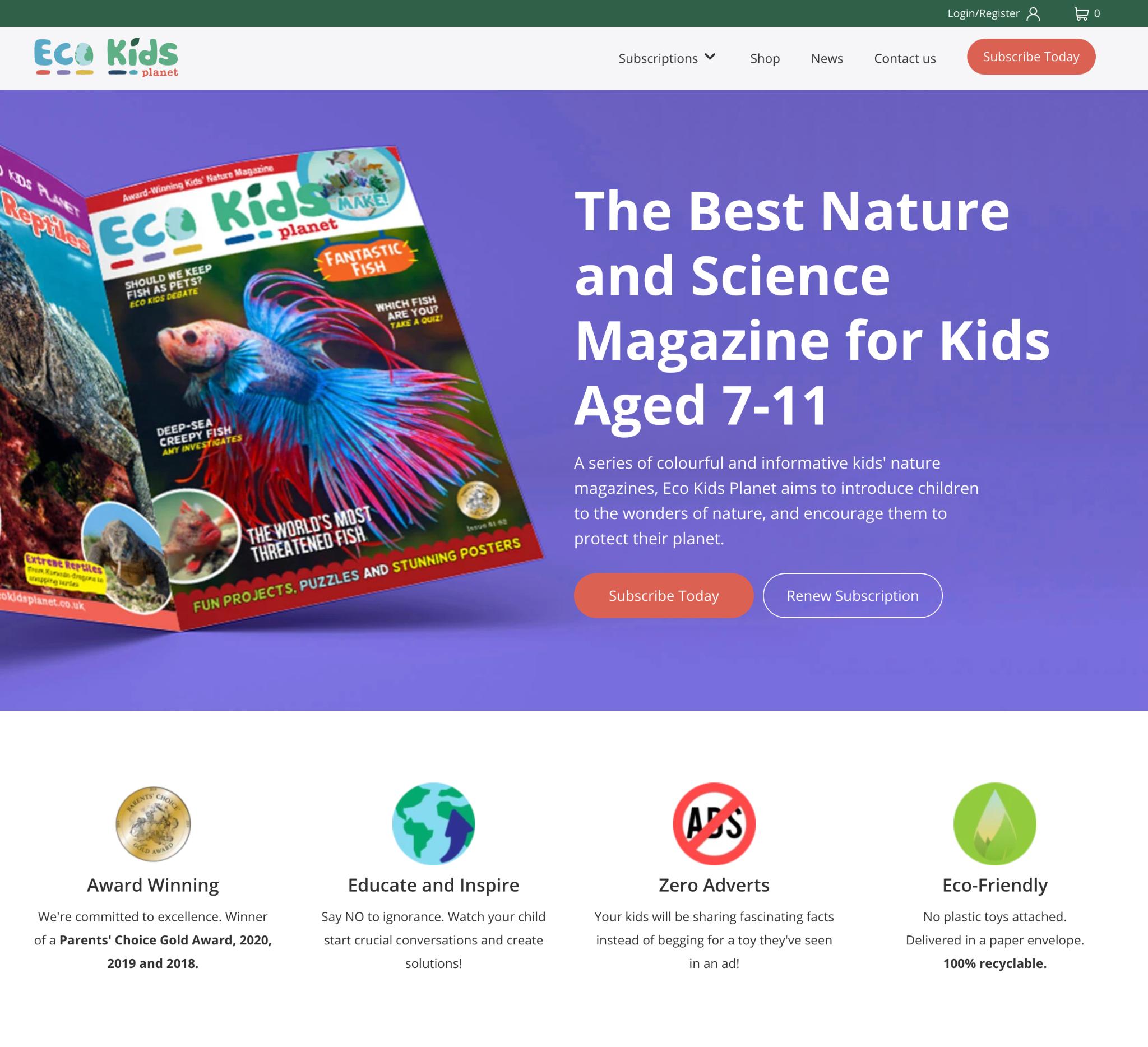 Eco Kids Planet homepage