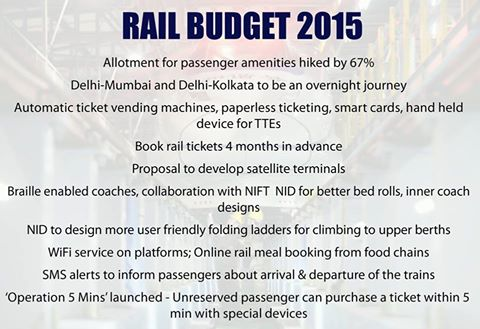 '#RailBudget2015: No fare hikes; All India 24x7 helpline 138 from March 1, 1330% increase in railway electrification over previous year and more at http://ow.ly/JFuV8'