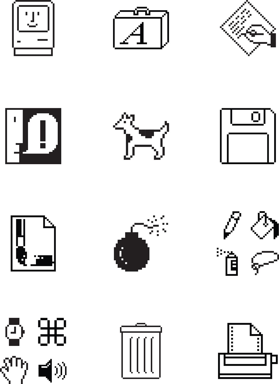 Graphic icons created by Susan Kare for Macintosh computers.