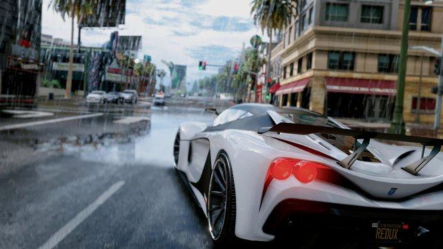 Weißes Sportauto mit leuchtendem Rücklicht und verbesserten Schatten und Texturen
