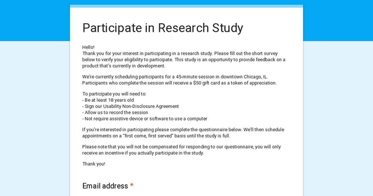 Participate in Research Study