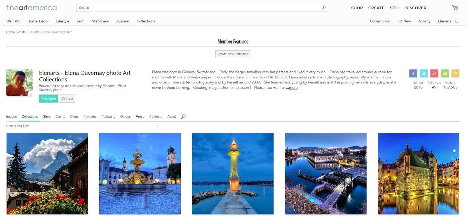 Profile FineArtAmerica | Vendre ses photos en ligne