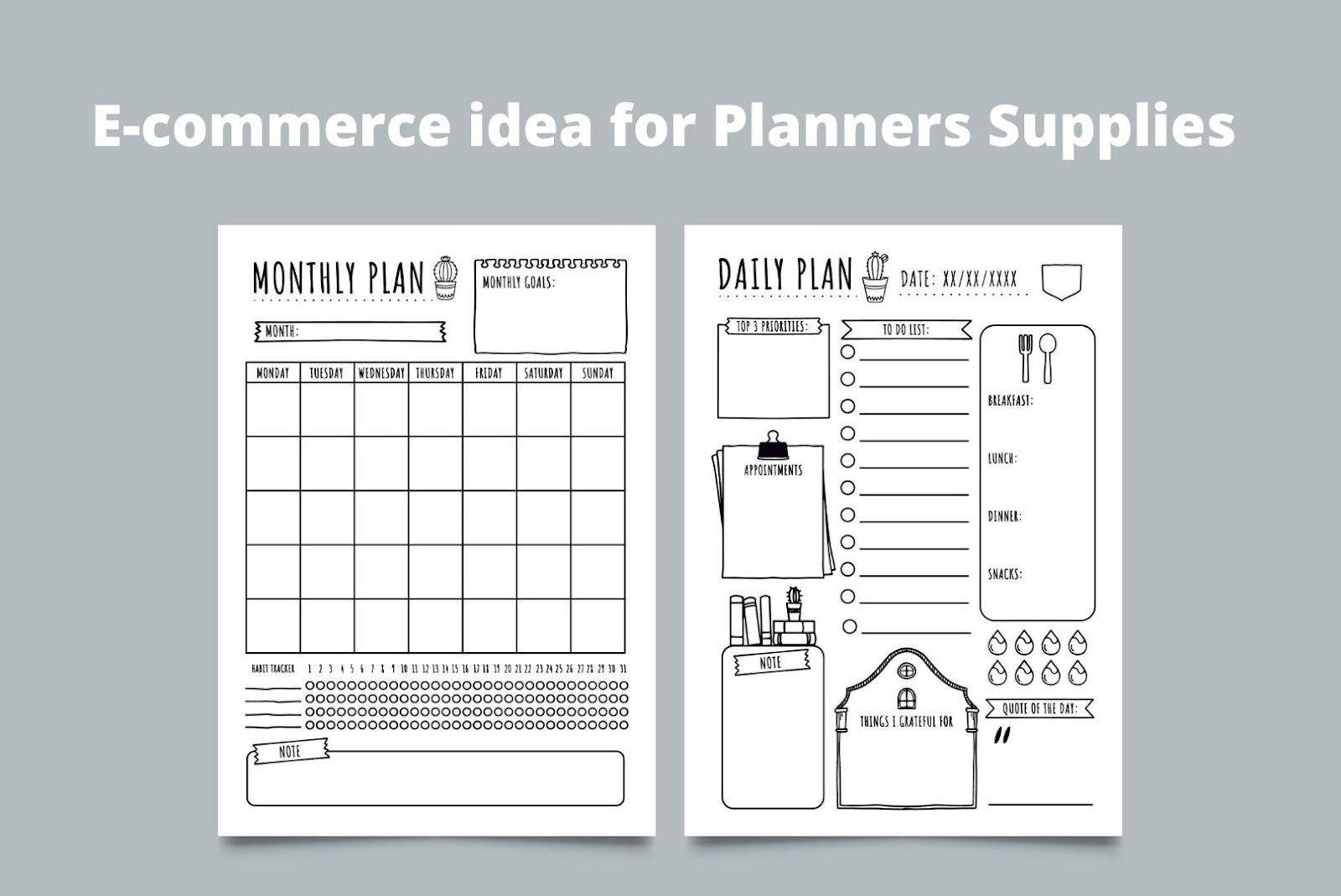 E-commerce ideas for Planners Supplies