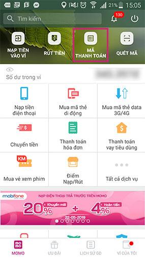 """Chọn """"Mã Thanh Toán"""""""