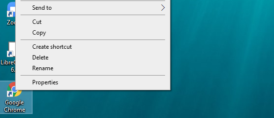 """Right-click on the Chrome icon located on your Desktop and click on """"Properties"""" from the menu that appears."""