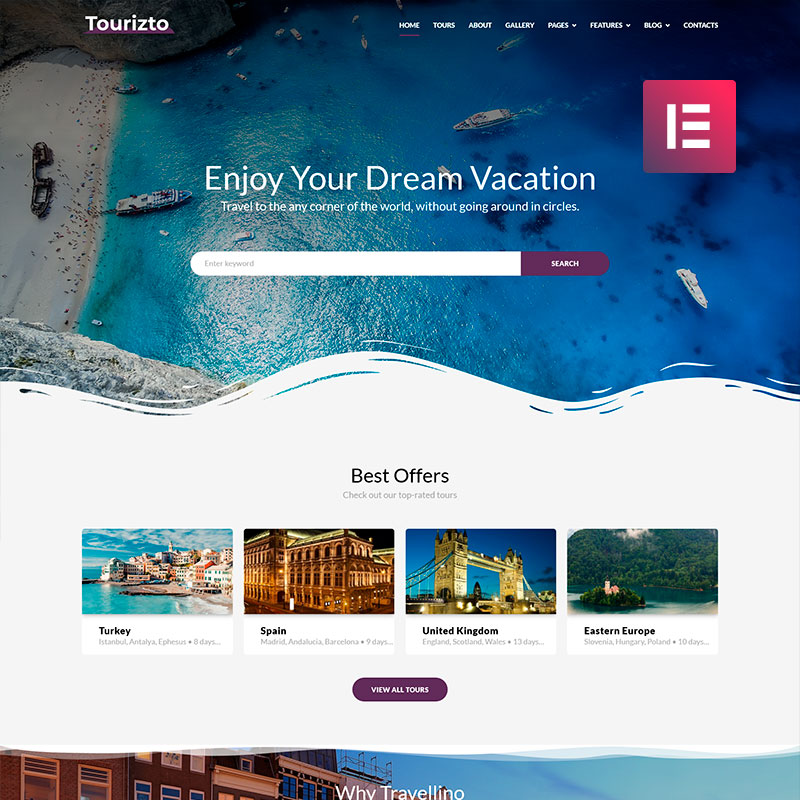 Tourizto - Travel Company Elementor WordPress Theme