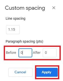 custom spacing set to zero