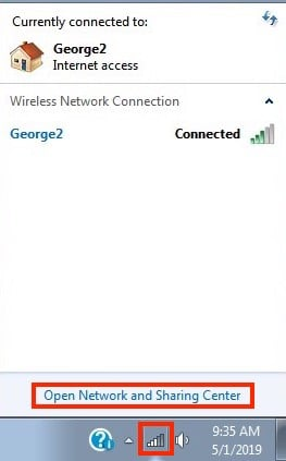 To see your local IP address in Windows 7, start by clicking the Network Connection icon on your Desktop.
