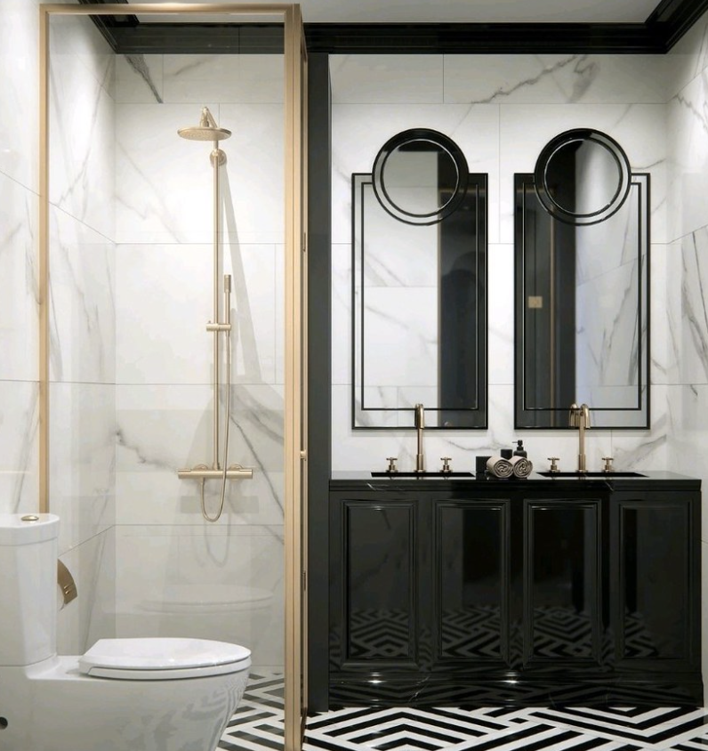 black and gold bathroom. Golden shower and marble walls.