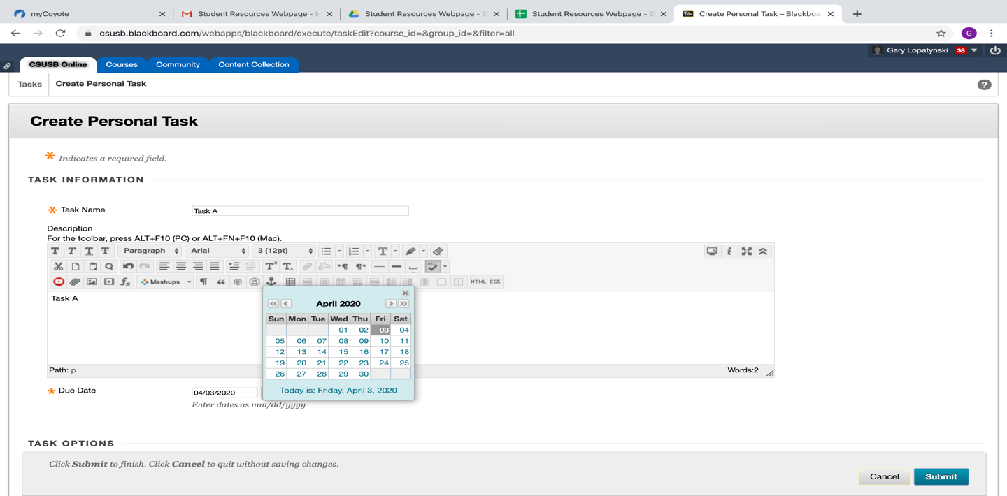 Make a title, description, a map date, and priority level for each task you create.