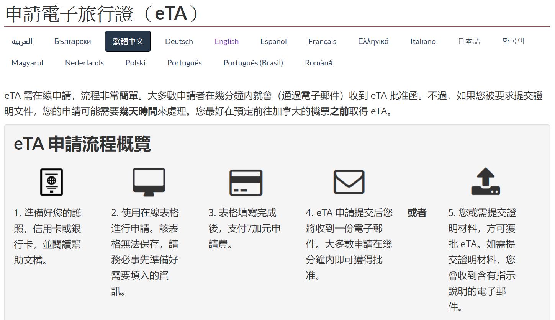 如何申請加拿大電子簽證eta2
