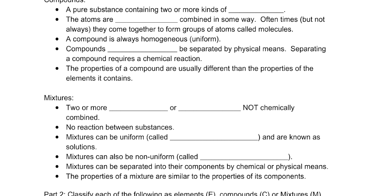 elementscompoundsandmixturesws Google Docs – Element Compound Mixture Worksheet
