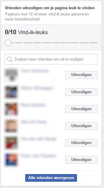 Nodig je vrienden uit om je facebookpagina te liken