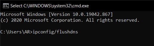 Type in the following command: ipconfig/flushdns.
