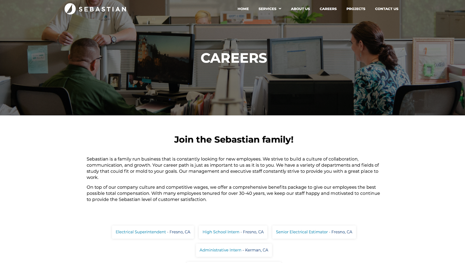 The Career page on Sebastian's website features original photography and friendly language that attracts job candidates.