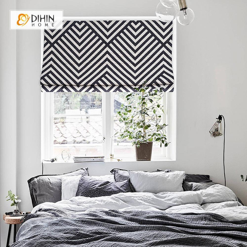 Black and White Lines Printed Roman Blinds