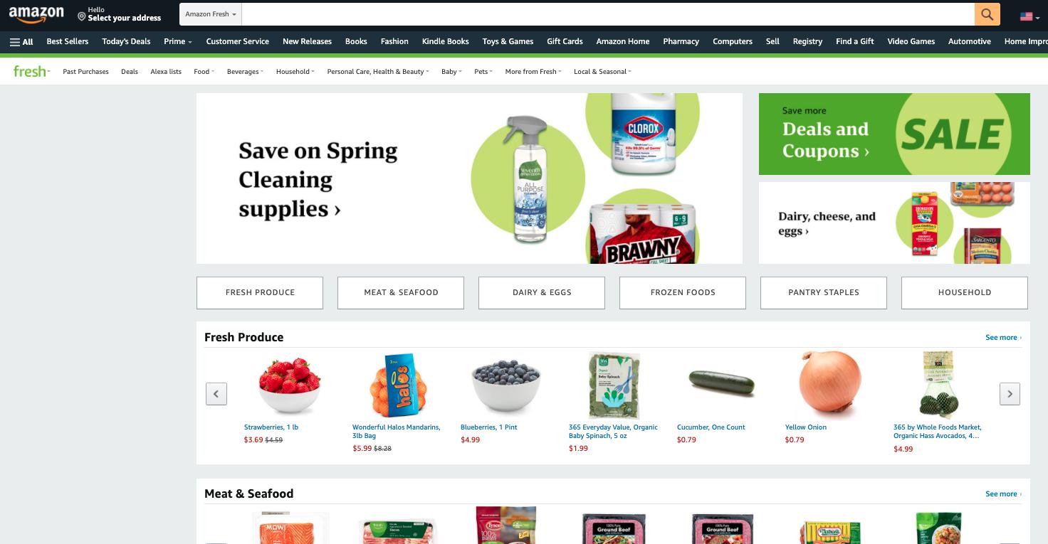 Screenshot of Amazon Fresh Homepage