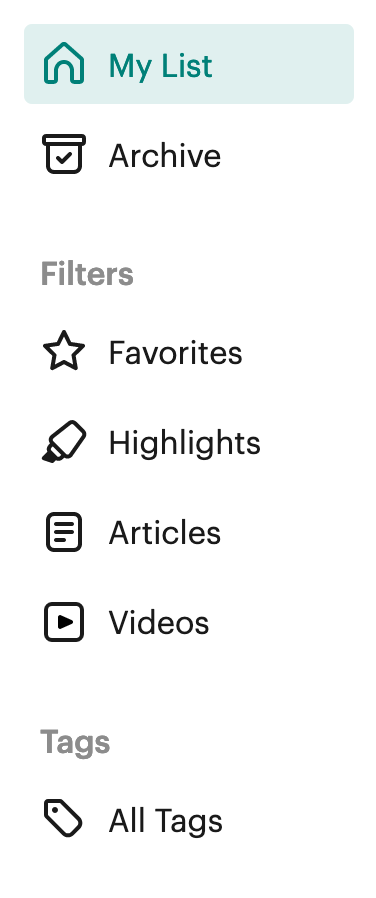sidebar menu on left side of webpage in List View. Here, you can switch between My List, Archive, Filters and Tags.