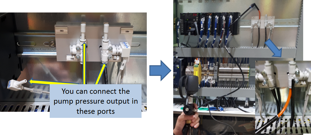 Pressure sensor calibration setup- showing the input ports for supplying pressure