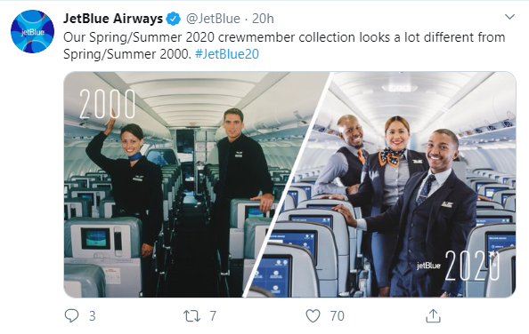 Social media post idea –JetBlue Airways compares its crewmember uniforms of 2000 and 2020.