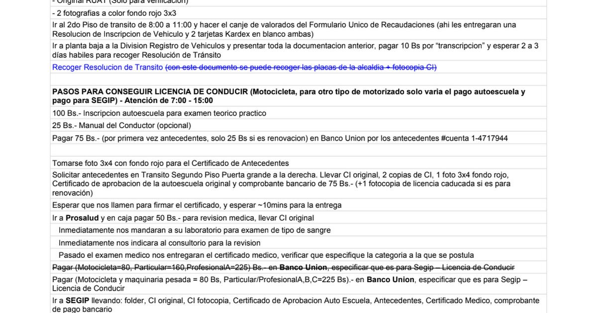 PLACAS NUEVAS - LICENCIA DE CONDUCIR (Cochabamba) - Google Sheets