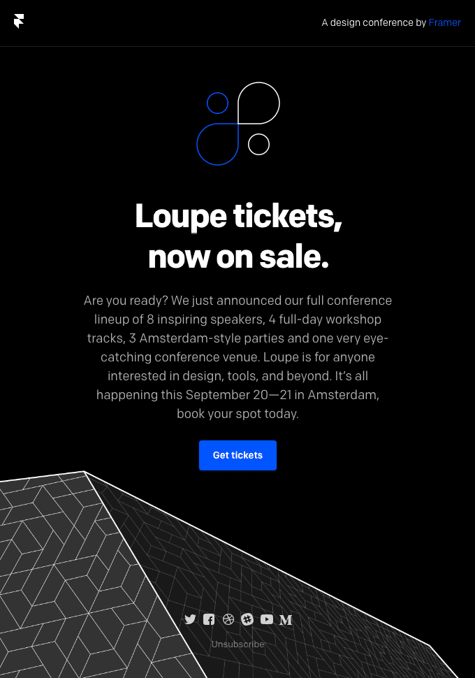 """Loupe tickets now on sale."" event invitation email example"
