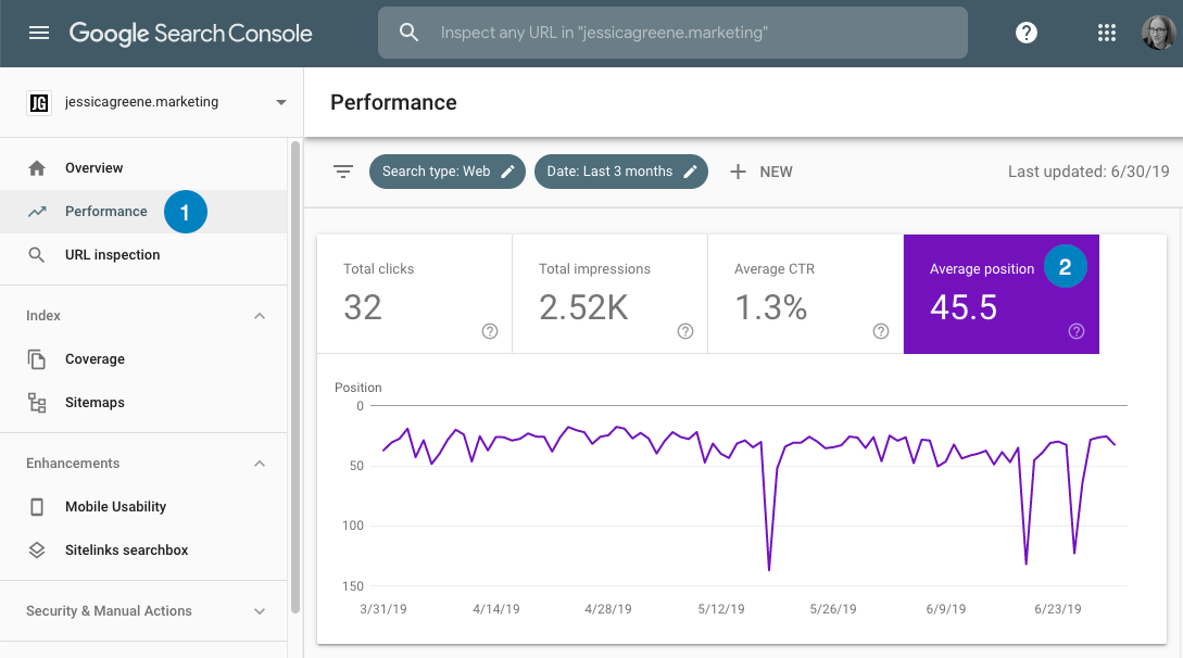 find rankings in google search console