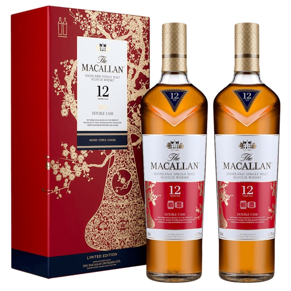 Display case and two bottles of Macallan 'year of the pig' special release.