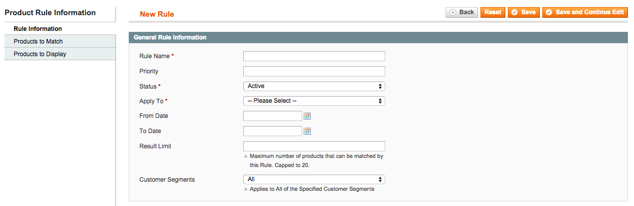 Rule-based Product Relations in Magento Enterprise - Add rule