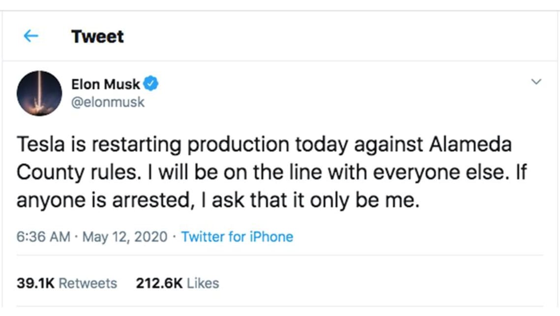 Elon Musk asks to be arrested as Tesla breaks the law to reopen ...