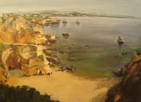 Playa del Algarve pintura al óleo de Cristina López Ramírez