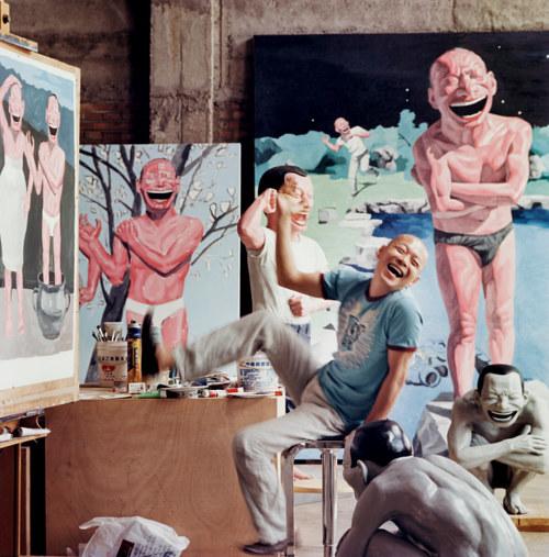 Yue Minjun in his Studio