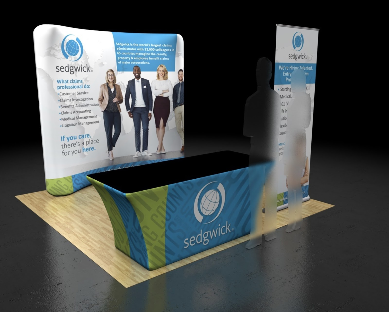 This custom package combines a retractable banner stand, 8' curved backwall, and a 6' tension table cover.