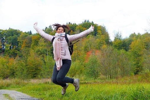 Woman, Jump, Hop, Air Jump, Away, Nature