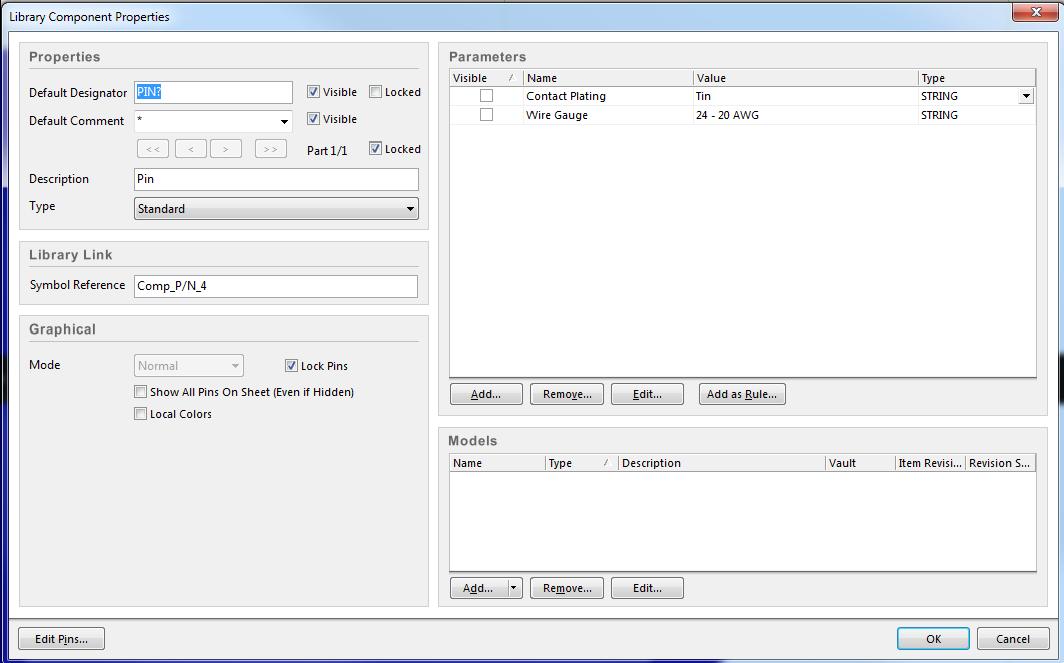 CAD-Zeichnung zum PCB-Kabeldesign: Abbildung 2.  Bauteileigenschaften mit den Parametern Dicke der Durchkontaktierung und Litzenquerschnitt