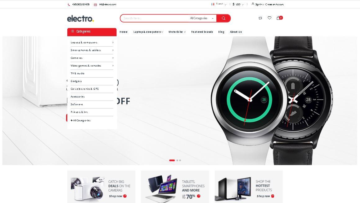 Watches magento theme electro
