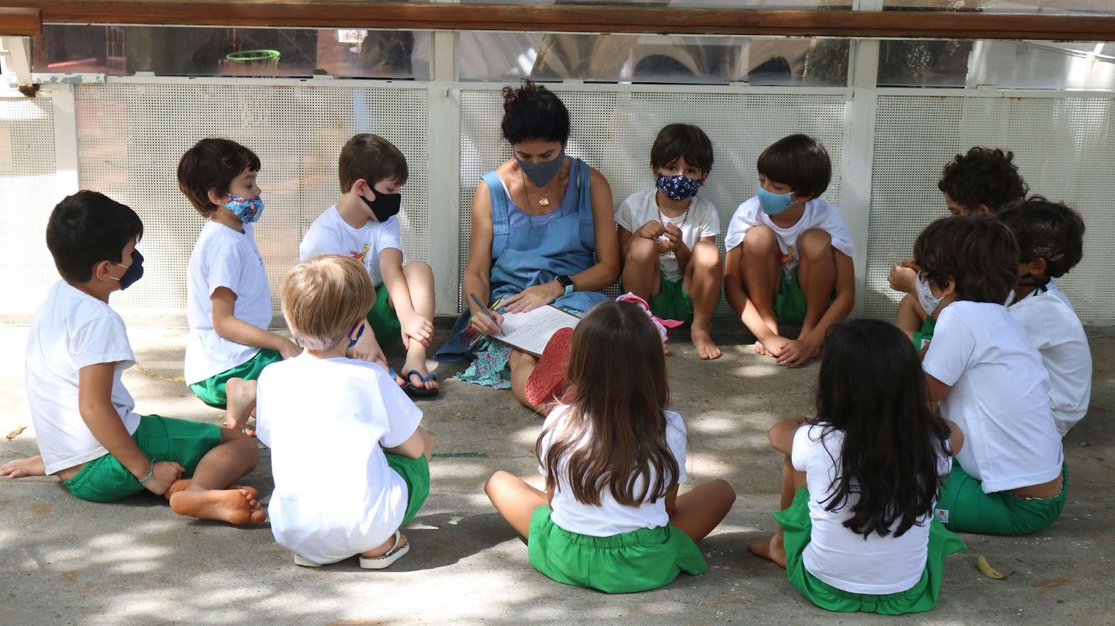 A imagem mostra crianças em um roda de conversa.