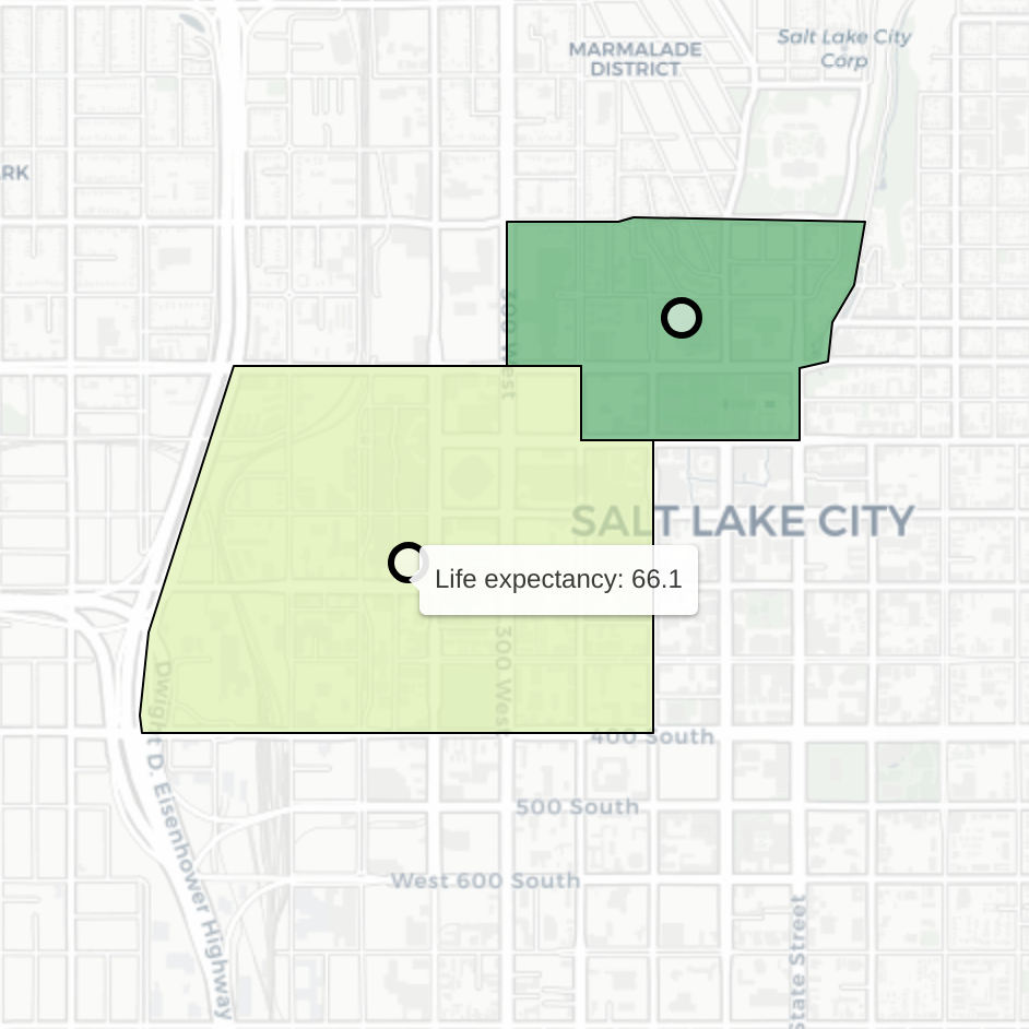 Crop of interactive map showing the disparate life expectancy in two Salt Lake City neighborhoods. Geo AI and medicine can be combined to analyze the patterns between social determinants and health outcomes.