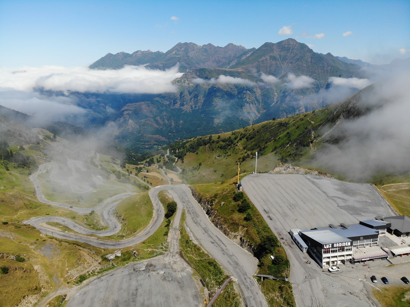 Cycling Luz Ardiden - aerial drone photo of hairpins at top of climb