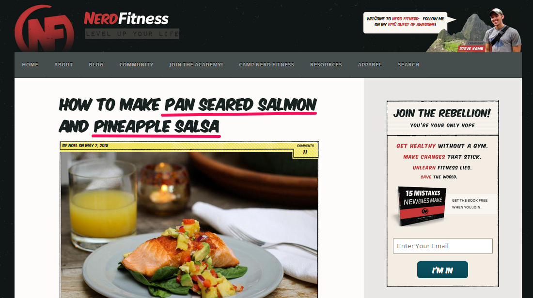 NerdFitness's online recipe with a specific headline detailing pan-seared salmon and pineapple salsa