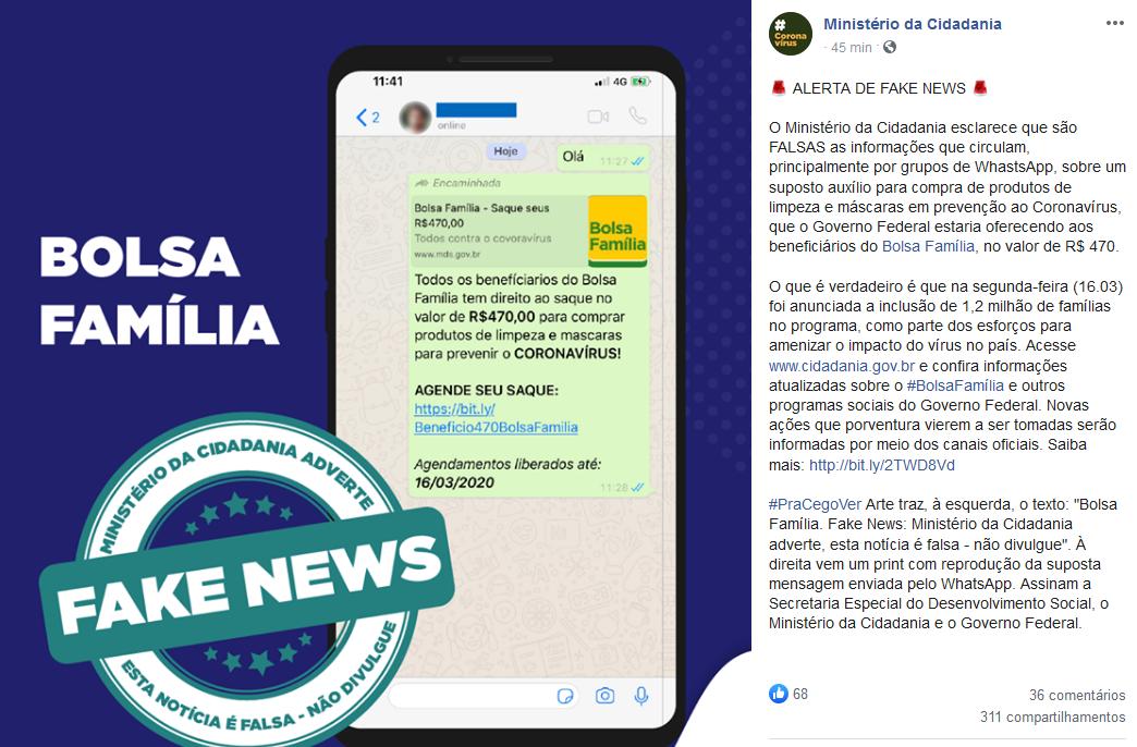 Desmentido Ministério da Cidadania sobre Bolsa Família e Coronavírus