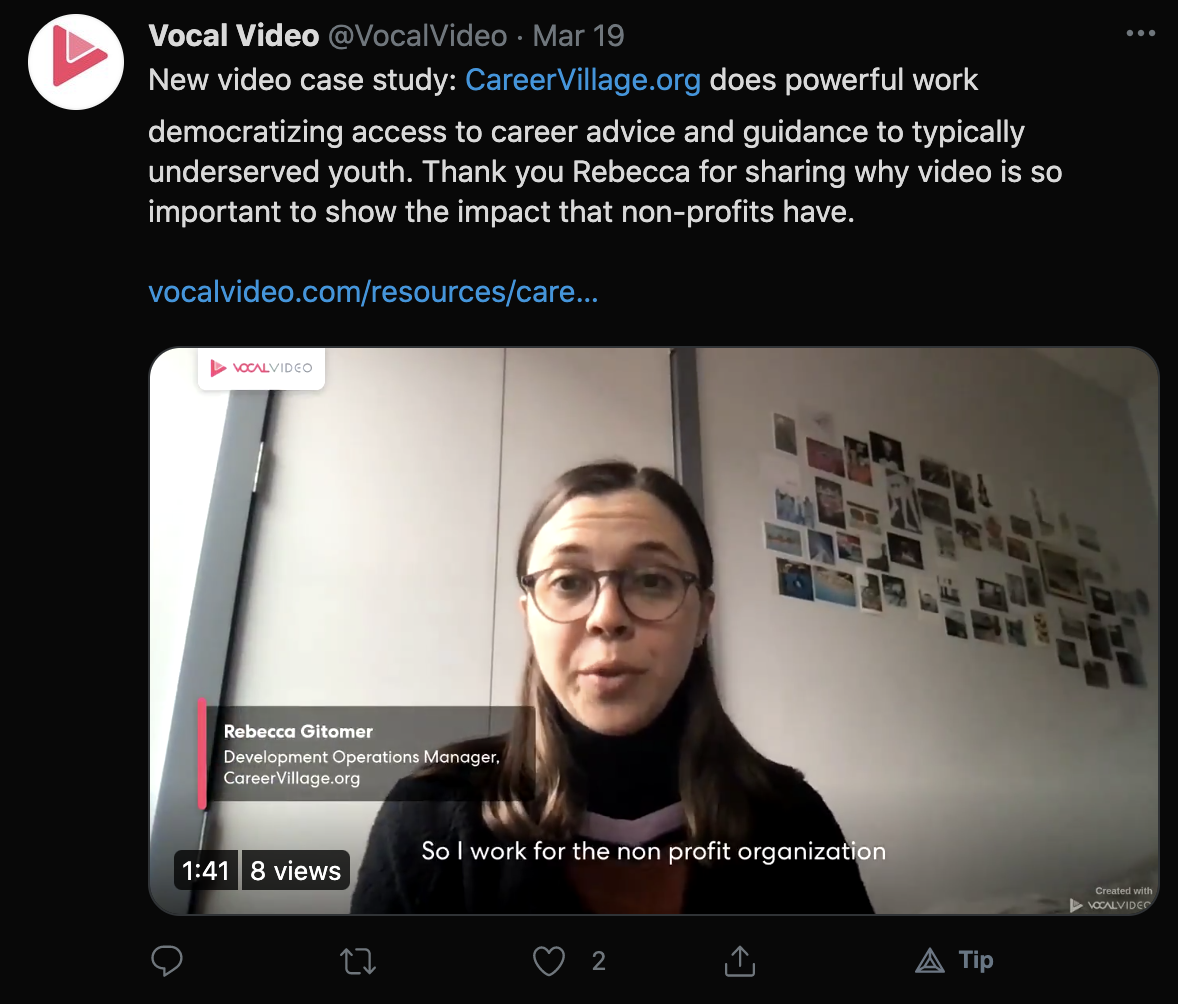 """New video case study: CareerVillage.org does powerful work democratizing access to career advice and guidance to typically underserved youth. Thank you Rebecca for sharing why video is so important to show the impact that non-profits have."""""""