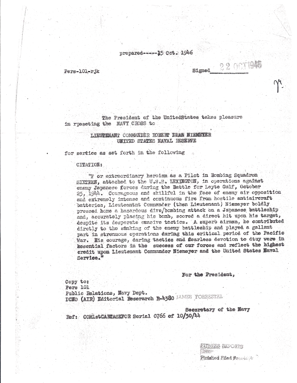 Robert D Niemeyer Navy Cross Citation 22 Oct 1946.png