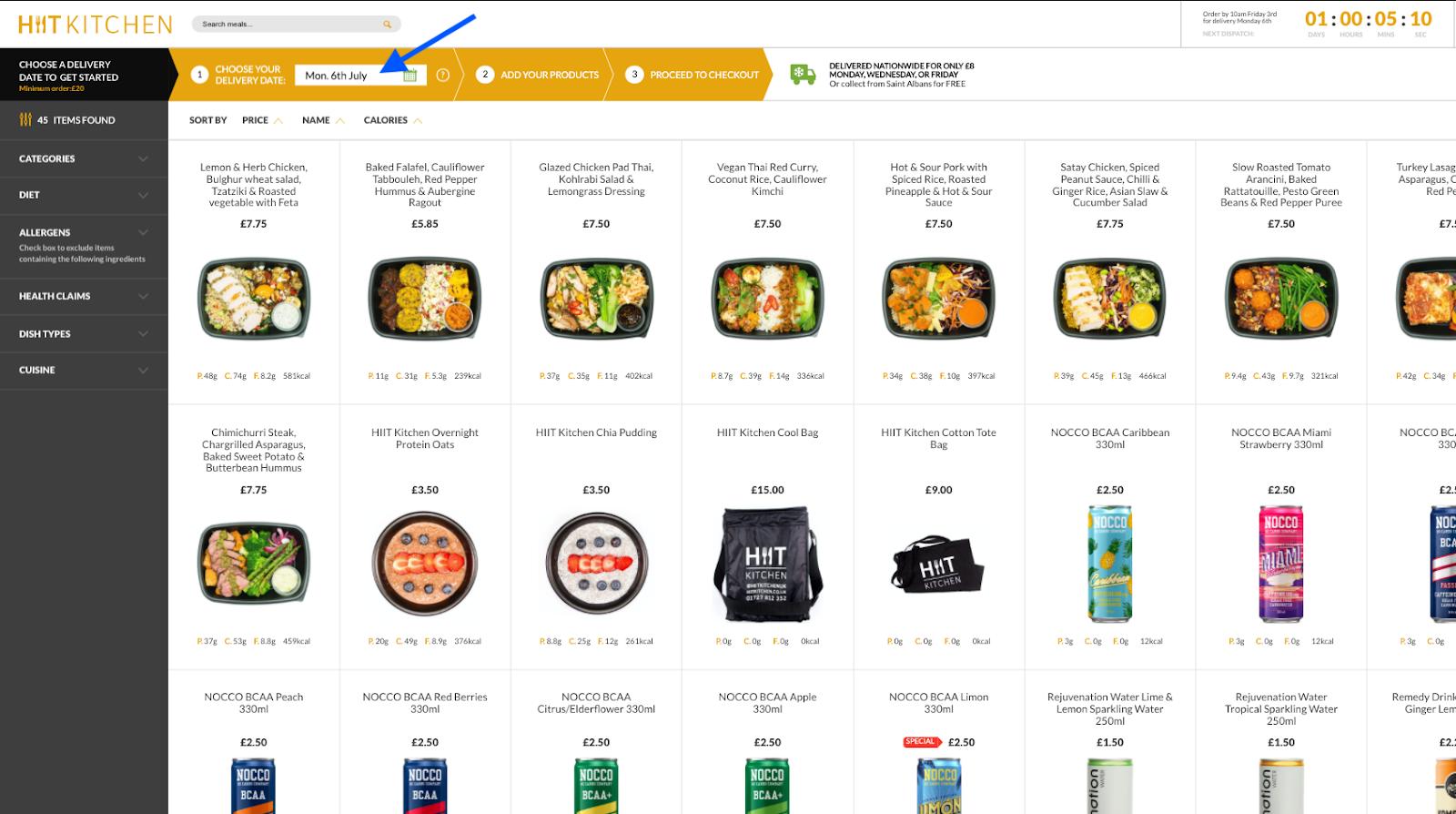 HIIT Kitchen Website Changes - Product Menu