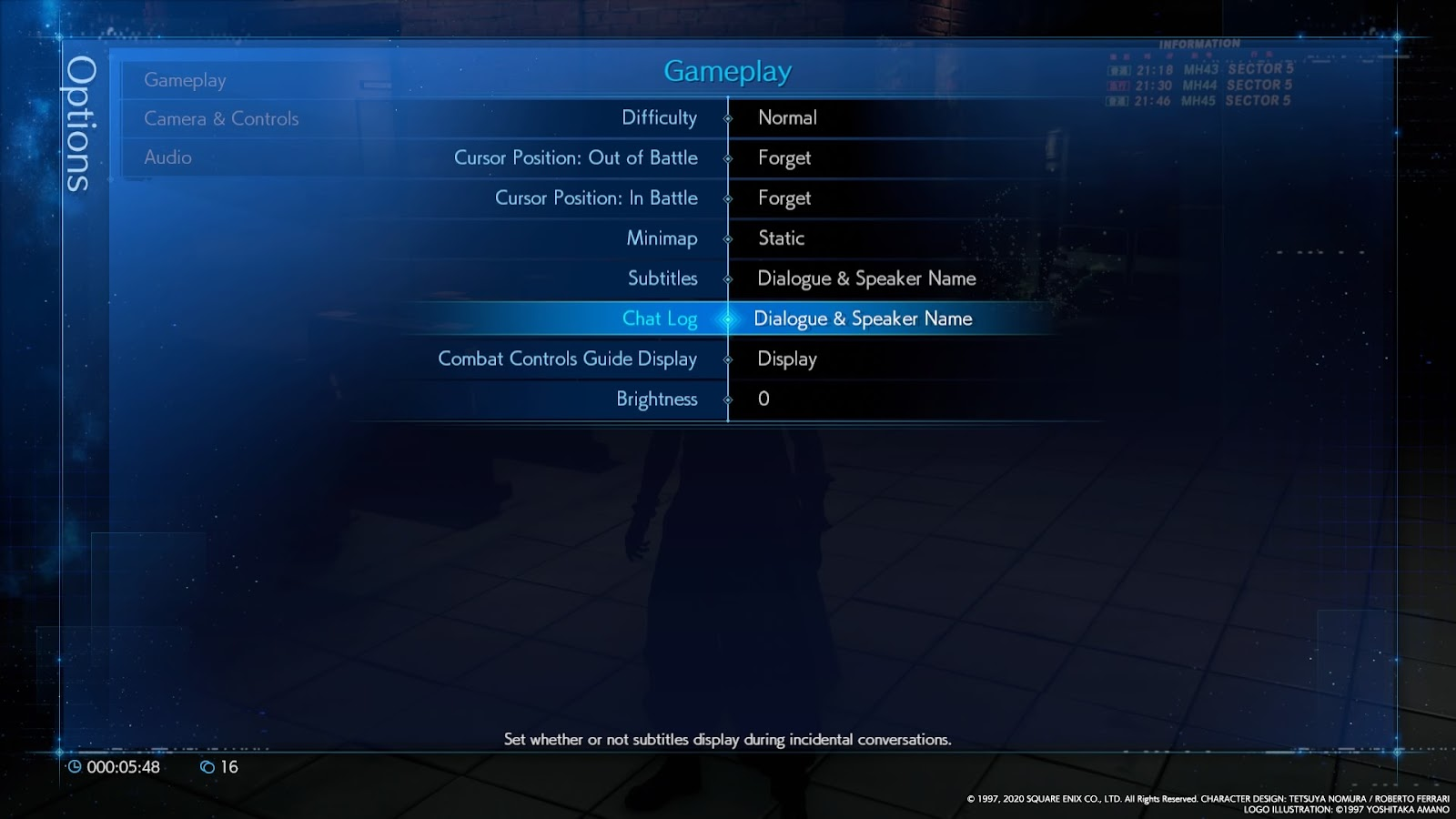 Gameplay options menu.